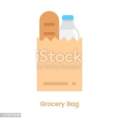 istock Grocery Bag Icon Flat Design. 1279279705