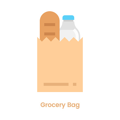 Grocery Bag Icon Flat Design.
