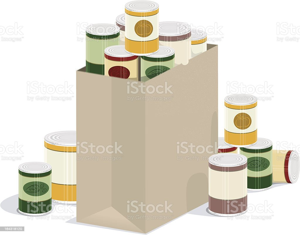 Grocery Bag of Canned Goods vector illustration of paper grocery bag overflowing with canned goods Bag stock vector