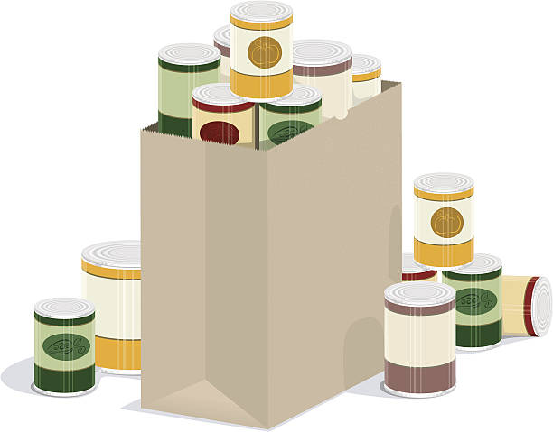 Grocery Bag of Canned Goods vector illustration of paper grocery bag overflowing with canned goods food drive stock illustrations