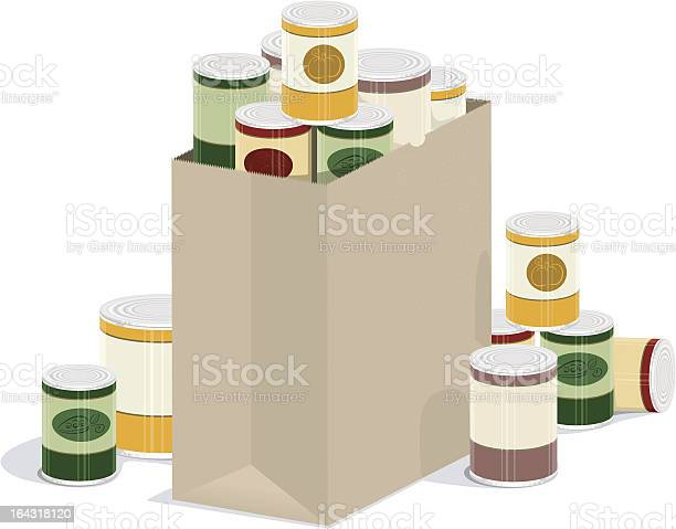 Grocery Bag Of Canned Goods Stock Illustration - Download Image Now
