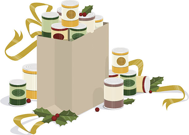Grocery Bag of Holiday Canned Goods vector embellishment of an overflowing grocery bag of canned goods with holly and ribbons food drive stock illustrations
