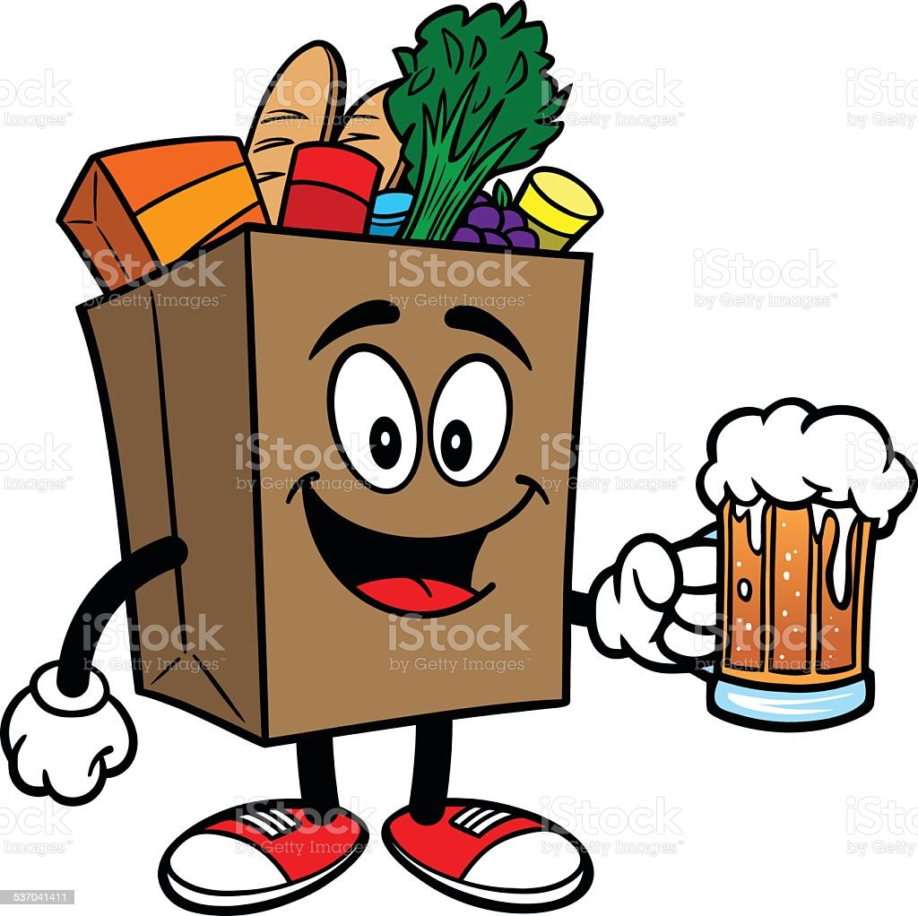 Grocery Bag with Beer vector art illustration