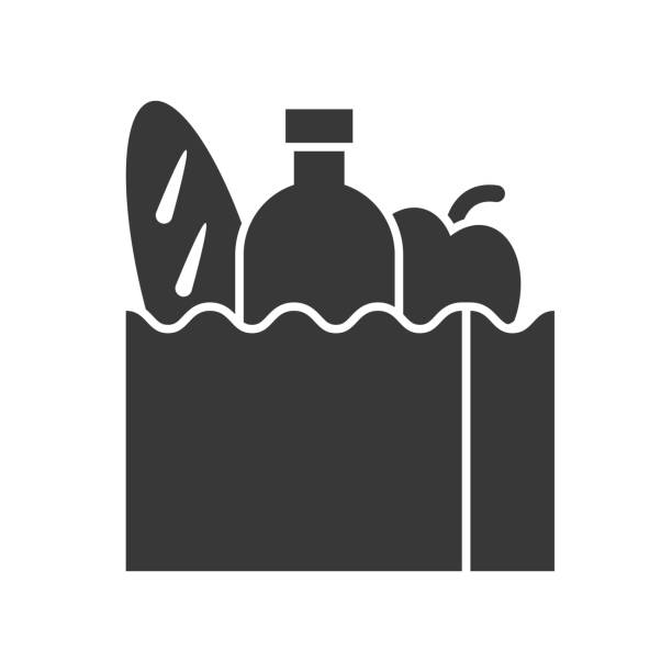 grocery bag with bread, water bottle and apple, food and beverage set, glyph design icon – artystyczna grafika wektorowa