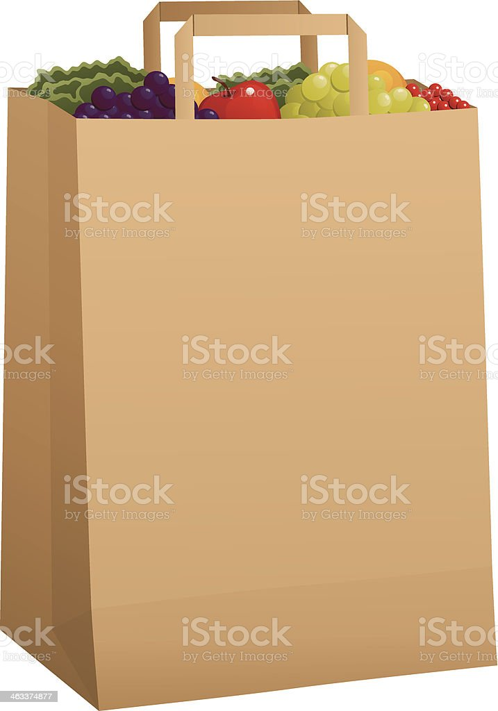Grocery Bag with Produce vector art illustration