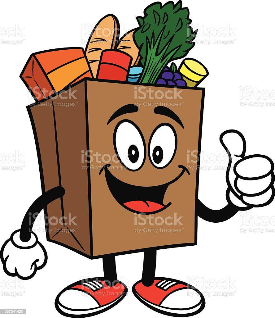 Grocery Bag with Thumbs Up vector art illustration