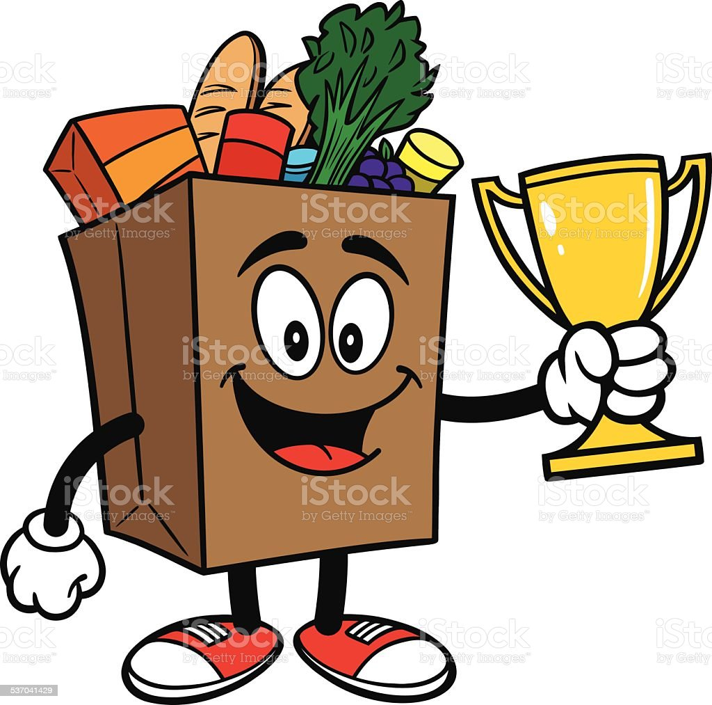 Grocery Bag with Trophy vector art illustration