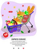 Flat mobile app page for order food online.  Grocery basket and cart full of food. Vector illustration.