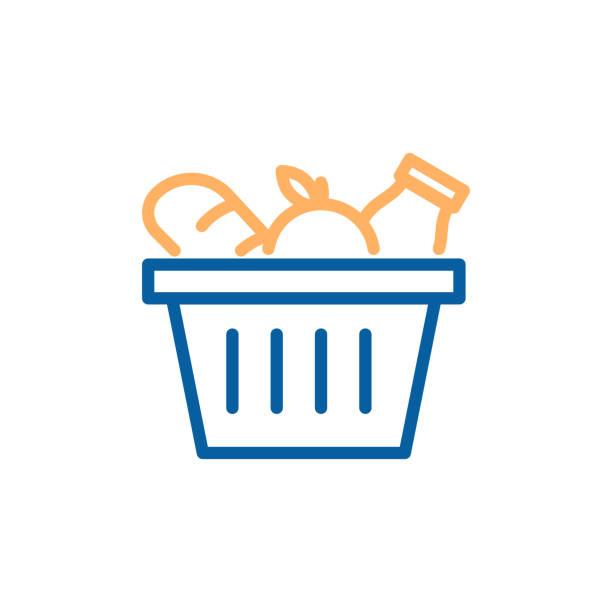 빵, 사과, 우유와 식료품 바구니입니다. 유행 선 아이콘 일러스트 레이 션 디자인 식품 식료품 시장 쇼핑에 대 한 벡터. - 바구니 stock illustrations