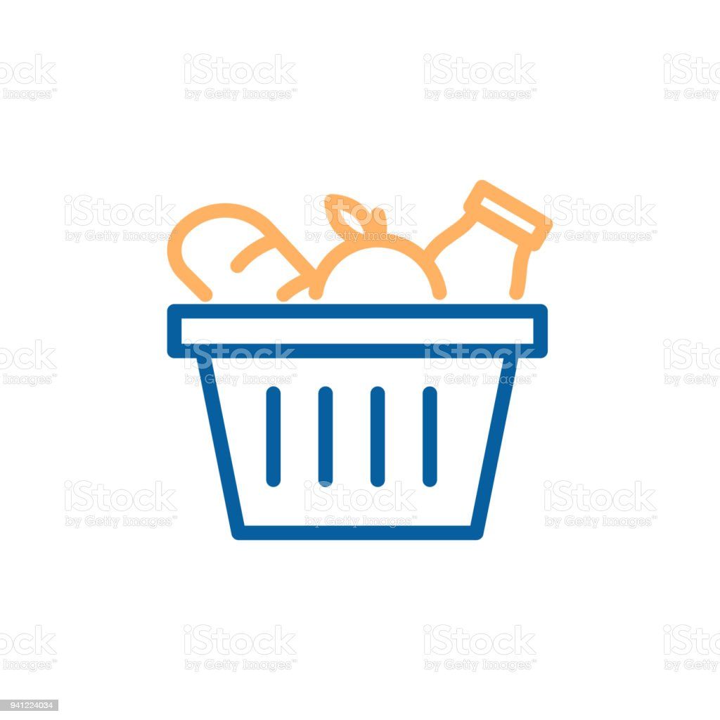 Grocery basket with bread, apple and milk. Vector trendy thin line icon illustration design for food groceries market shopping. vector art illustration