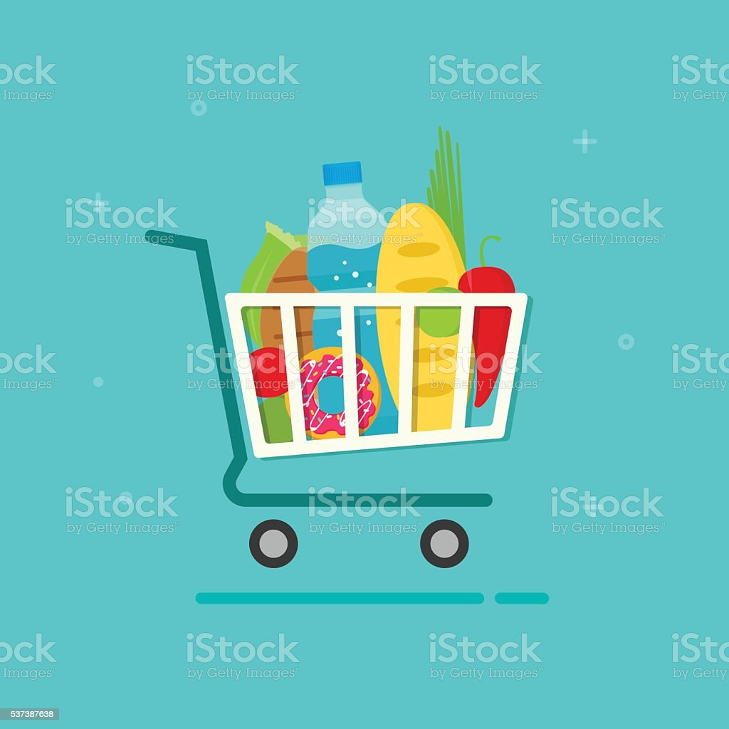 Grocery cart vector illustration, shopping trolley icon with fresh food vector art illustration