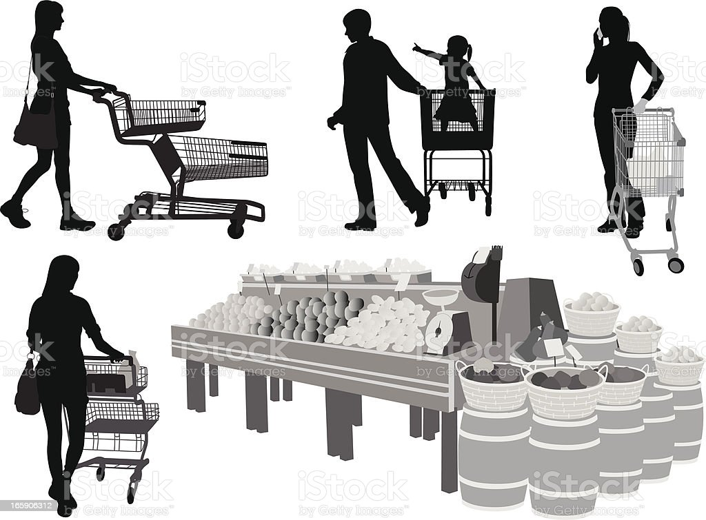 Grocery Carts Vector Silhouette vector art illustration