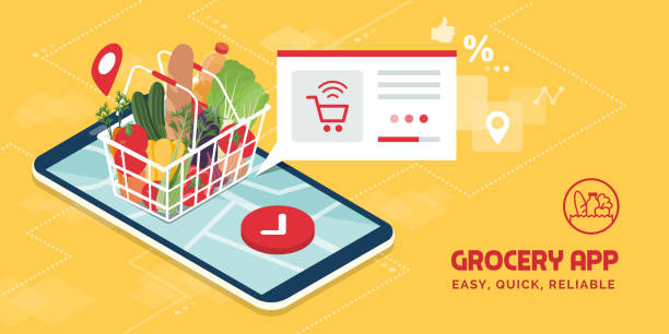 Grocery delivery at home and smartphone app Grocery delivery at home and smartphone app: full shopping basket with fresh vegetables, food and beverage on a mobile phone display grocery store stock illustrations