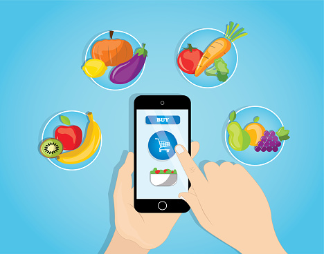Grocery delivery at home and smartphone app: vector of complete shopping cart with fresh vegetables, food and drink on mobile phone screen.