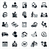 A set of grocery delivery icons. The icons include grocery delivery, delivery people, groceries, online ordering, ordering from the convenience of being at home, using a smartphone to order a delivery, delivery people shopping for groceries and delivering them, re-usable shopping bags full of groceries, meal preparation, delivery van, calendar and a shopping cart to name just a few.