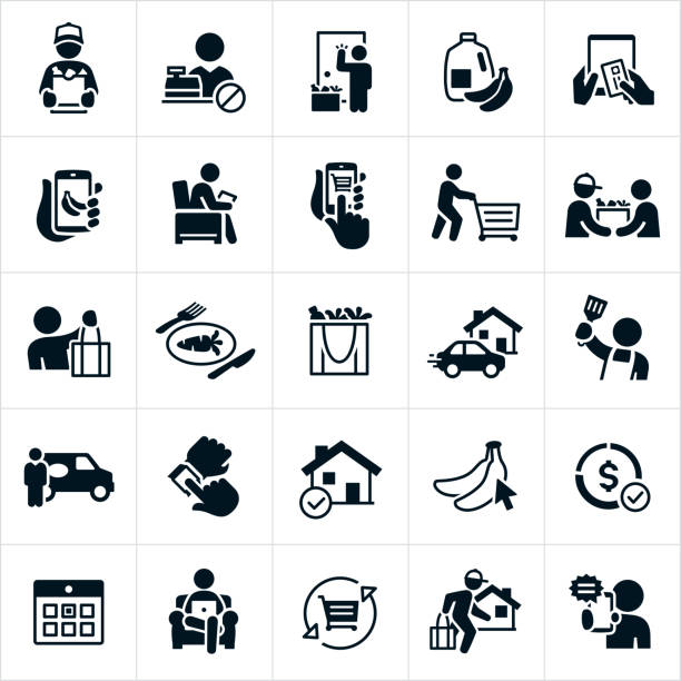 Grocery Delivery Icons A set of grocery delivery icons. The icons include grocery delivery, delivery people, groceries, online ordering, ordering from the convenience of being at home, using a smartphone to order a delivery, delivery people shopping for groceries and delivering them, re-usable shopping bags full of groceries, meal preparation, delivery van, calendar and a shopping cart to name just a few. grocery store stock illustrations