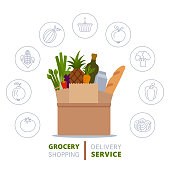 istock Grocery delivery service concept. 1316611181
