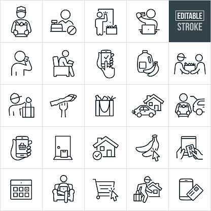 Grocery Delivery Thin Line Icons - Editable Stroke