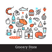 Grocery store vector illustration concept isolated on white background. Groceries, food, drink, meal, meat, delicatessen, veggies thin line icons for web, mobile app. Supermarket departments vector set. Editable stroke.