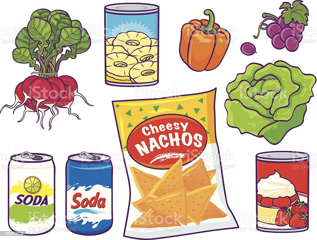 Grocery Food Items royalty-free stock vector art