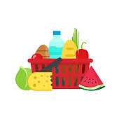 Grocery food shopping basket vector illustration flat carton design, fresh healthy organic meal isolated