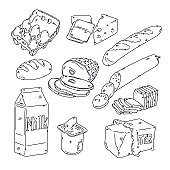 Grocery Food sketch style, all strokes left intact.