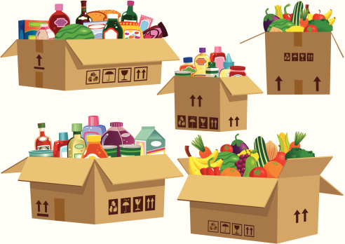 Grocery goods in cardboard boxes