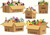istock Grocery goods in cardboard boxes 165738852