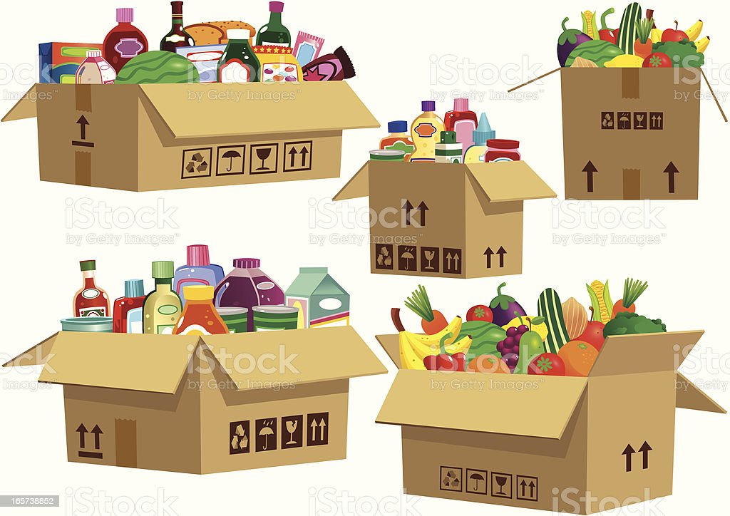 Grocery goods in cardboard boxes vector art illustration