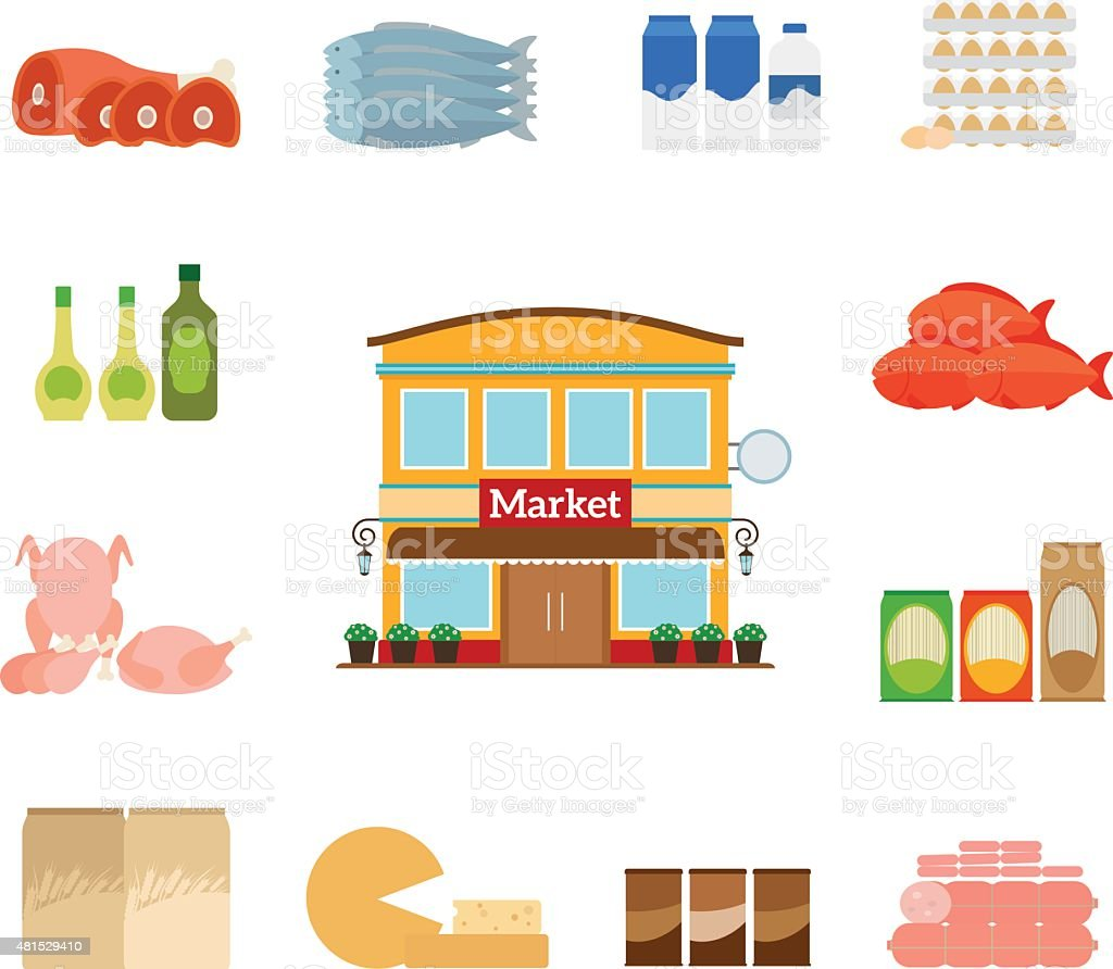 Grocery icons vector art illustration