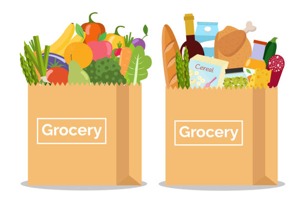 Grocery in a paper bag and vegetables and fruits in paper bag. Vector illustration. Flat design. grocery store stock illustrations