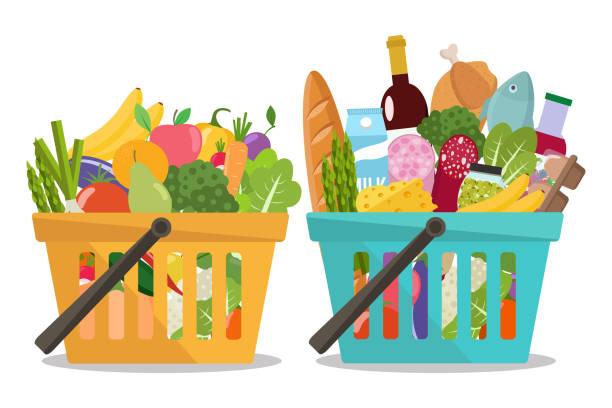 lebensmittelgeschäft in einem warenkorb und obst und gemüse im korb. - grundnahrungsmittel stock-grafiken, -clipart, -cartoons und -symbole