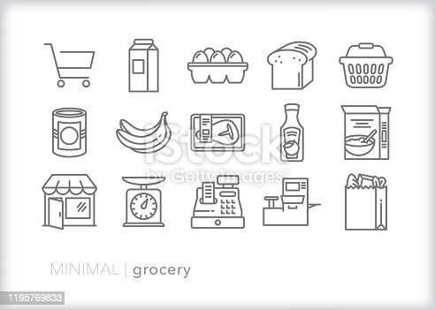 Set of 15 gray grocery line icons of common food and drink icons, including shopping basket, cart and check out items