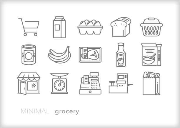 Grocery line icon set Set of 15 gray grocery line icons of common food and drink icons, including shopping basket, cart and check out items grocery store stock illustrations