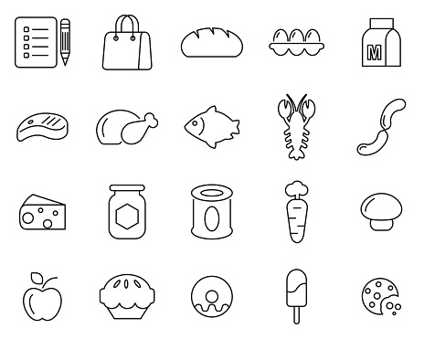 Grocery List Icons Black & White Thin Line Set Big