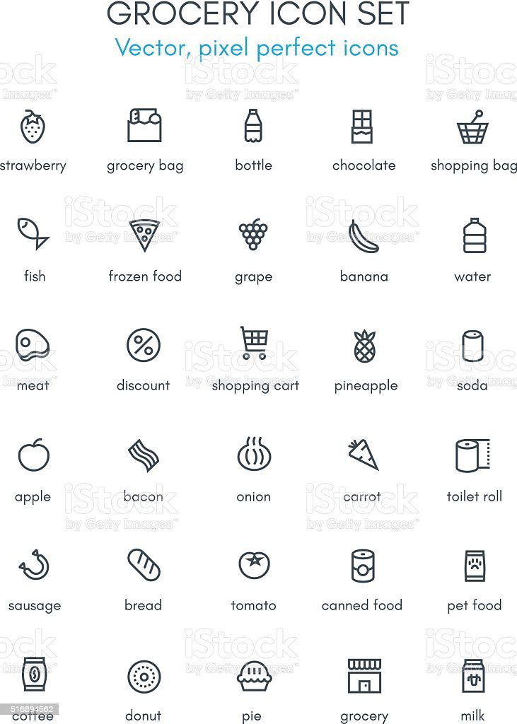 Grocery, market theme line icon set. vector art illustration