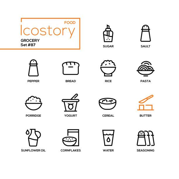 illustrazioni stock, clip art, cartoni animati e icone di tendenza di grocery - modern line design style icons set - corn flakes
