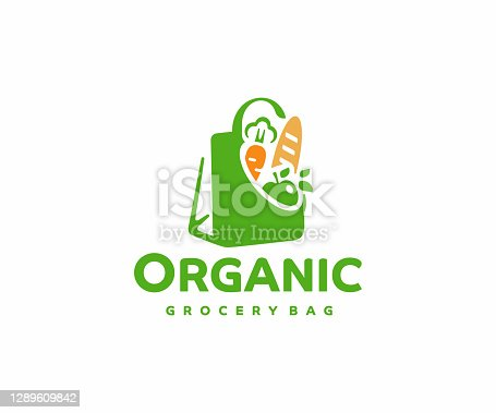 istock Grocery paper bag with food, design.  Reusable produce bag with healthy vegan vegetarian food vector design. Shopping in the supermarket illustration 1289609842