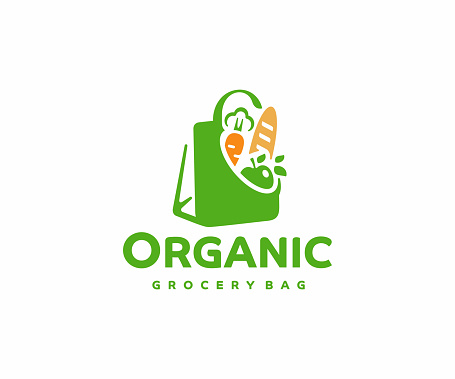 Grocery paper bag with food, design.  Reusable produce bag with healthy vegan vegetarian food vector design. Shopping in the supermarket illustration