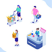 People in grocery shop. Flat isometric vector illustration isolated on white background.