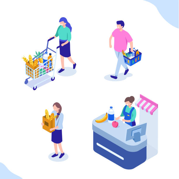 grocery people - retail worker stock illustrations