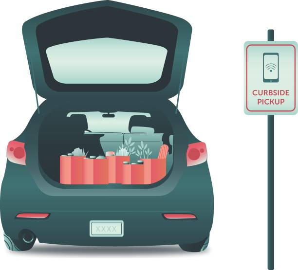 Grocery pickup service An illustration of the rear view of a car with an open hatch at a curbside delivery location. Groceries are inn the trunk of the car. boot stock illustrations