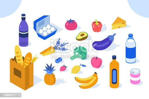 Grocery products icons. Flat isometric vector illustration isolated on white background.