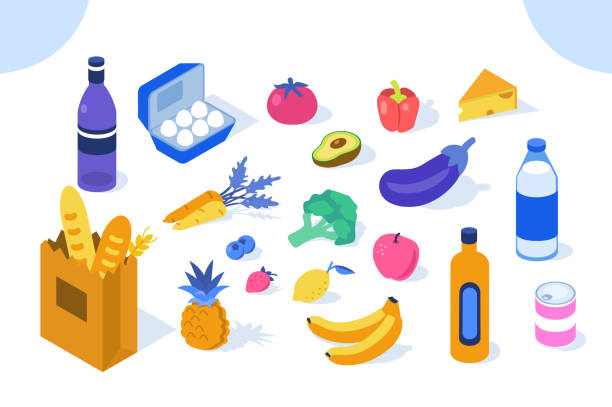 stockillustraties, clipart, cartoons en iconen met kruidenier producten - plat