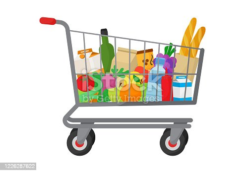istock Grocery purchase. Shopping trolley cart full products. Foods and drinks, vegetables and fruits. Vector 1226287622
