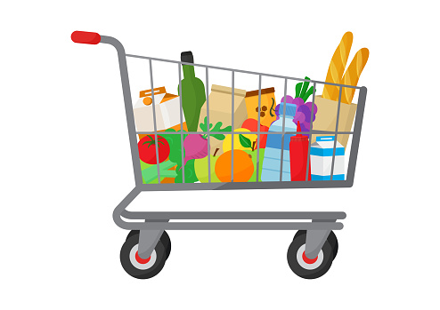 Grocery purchase. Shopping trolley cart full products. Foods and drinks, vegetables and fruits. Vector