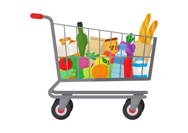 stockillustraties, clipart, cartoons en iconen met boodschappen doen. winkelwagentje volle producten. voedingsmiddelen en dranken, groenten en fruit. vector - shopping cart