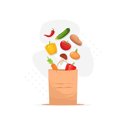Grocery semi flat RGB color vector illustration