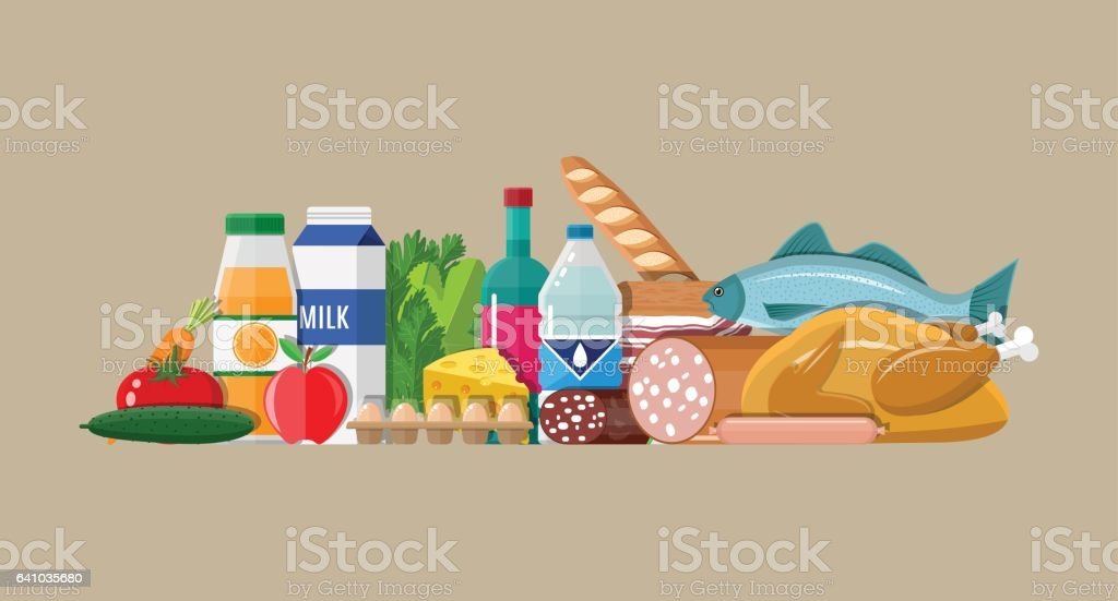 Grocery set. Meat, fish, salad, bread, milk vector art illustration
