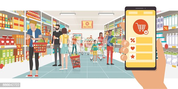 890476604 istock photo Grocery shopping app 886642722